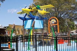 Orlando splash pad parks: image of plane theme splash pad park in Tavares Florida