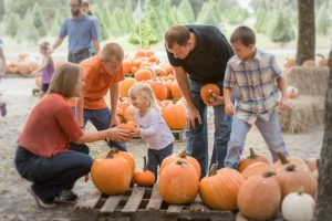 Orlando Pumpkin Patches: image of family picking pumpkins at Santa's Farm in Eustis, FL