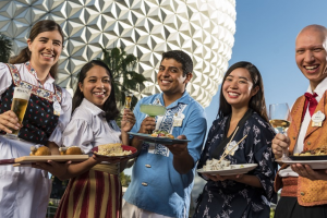 Epcot Discounts: image of staff serving food at Epcot International Food and Wine Festival.