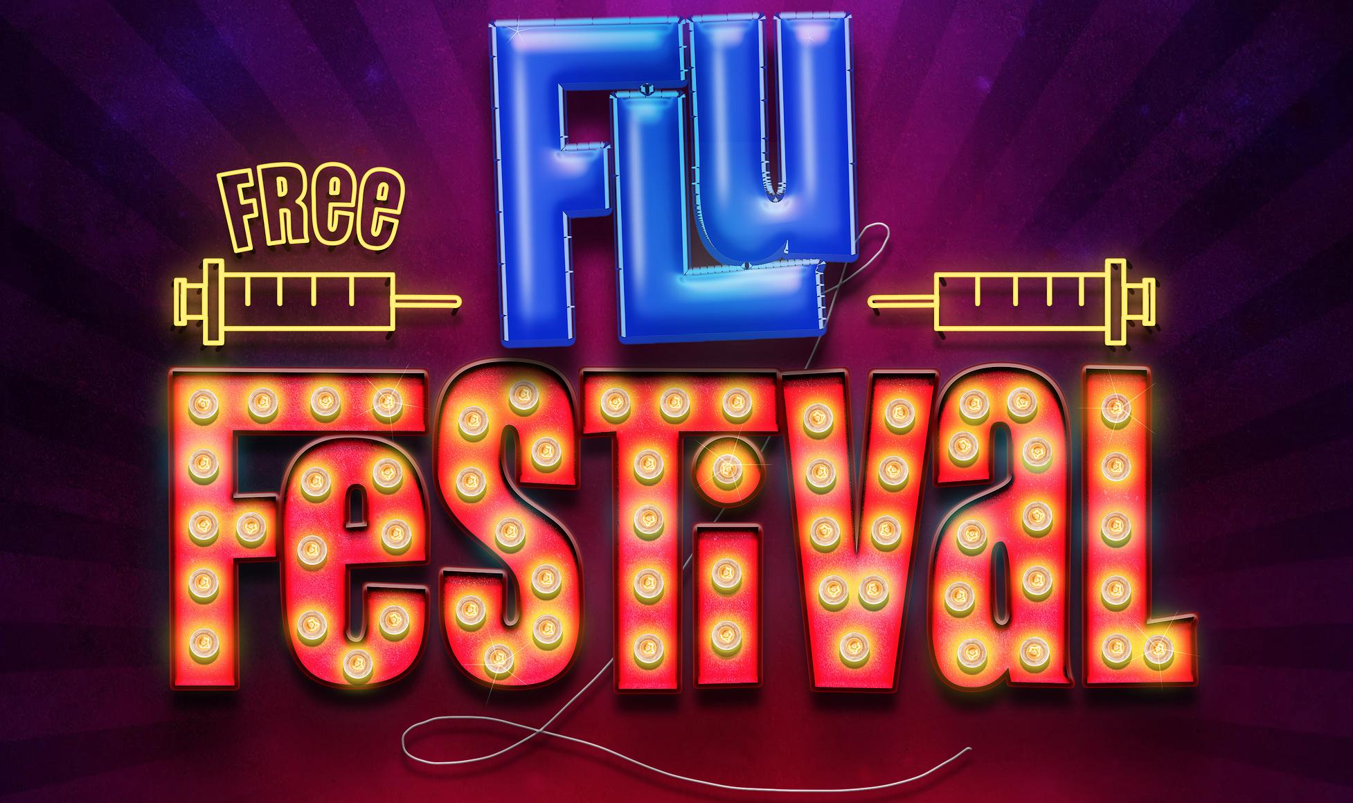 "Free Flu Shots Orlando: graphic says ""Free Flu Festival"""