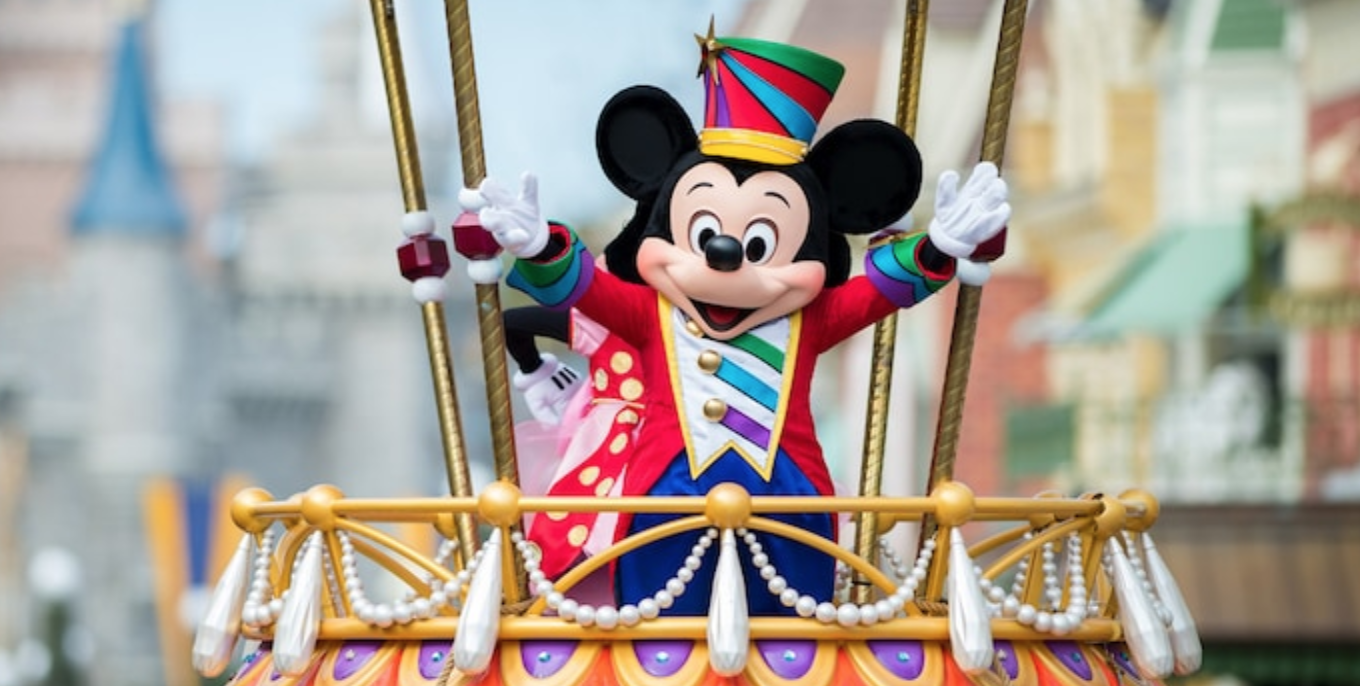 Disney Festival of Fantasy Parade at Magic Kingdom: image of Mickey Mouse waving on parade float