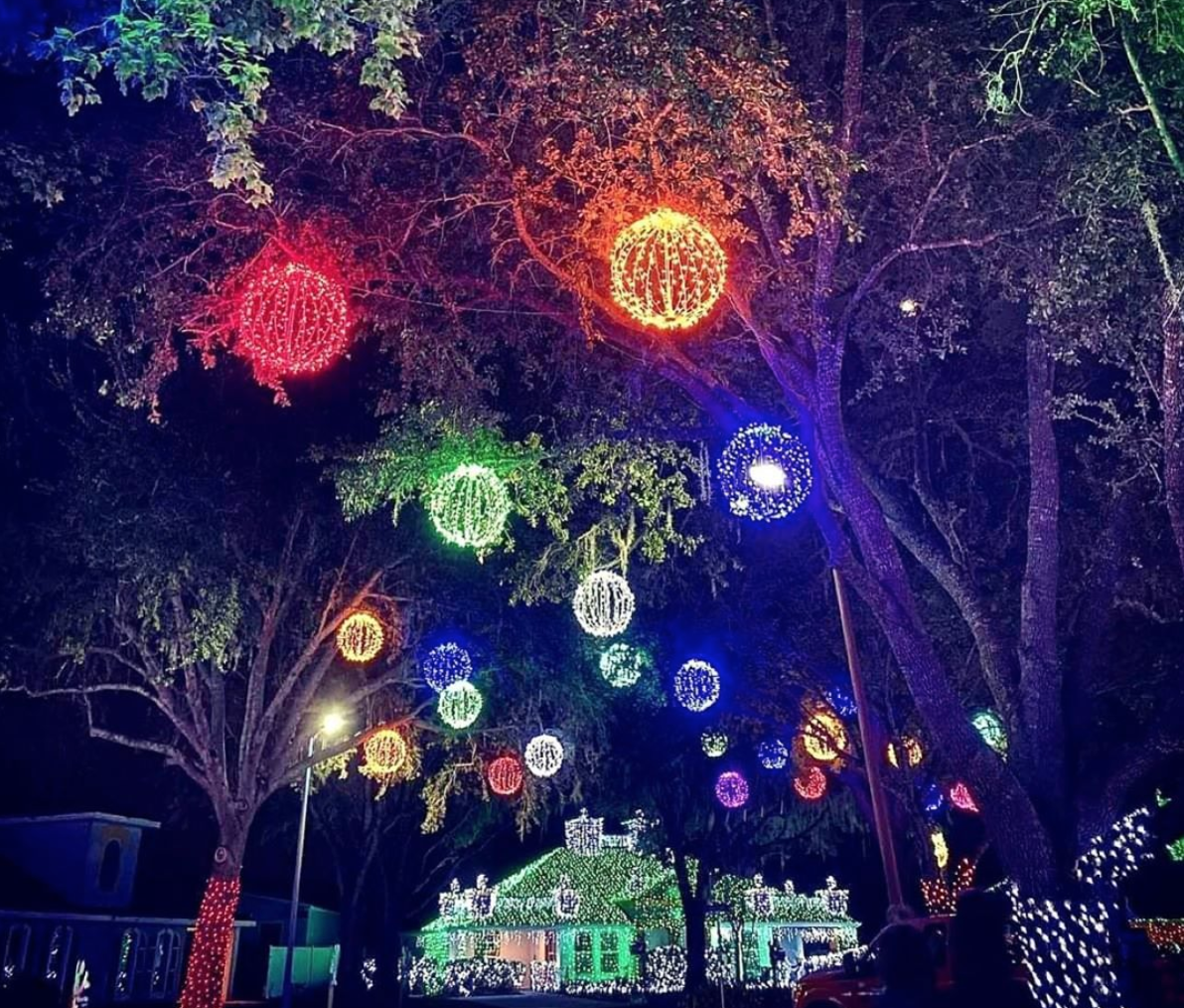 Orlando Christmas Lights: image of Give Kids the World decorated in Christmas lights for the new event, Night of a Million Lights this holiday season